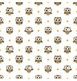 seamless pattern with brown owls and flowers vector image