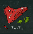 Tri-tip steak cut isolated on chalkboard vector image