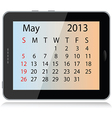 may 2013 calendar vector image