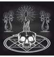 Skull and candles on chalckboard vector image vector image