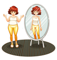 A fat girl and her skinny reflection vector image vector image