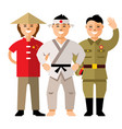 asians people flat style colorful cartoon vector image
