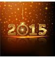golden 2015 year greeting card presentation vector image