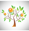 Abstract tree with colorful leaf and fruit vector image