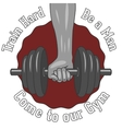 Weight dumbbell in a strong hand vector image