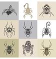 Set of nine tattoo vector image vector image