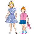 Sketch of girls different ages in retro style vector image vector image