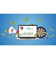 online business with graph money vector image