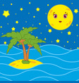 palm trees and a cartoon moon in the night sky vector image