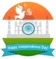 wavy Indian flag with monument vector image vector image