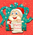 Merry Christmas poster with Santa vector image vector image