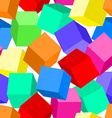 Colorful 3D blocks in a seamless pattern vector image