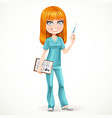Redhead nurse in green suit preparing make an vector image