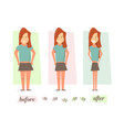 before and after weight loss women thick and thin vector image
