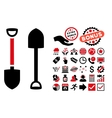 Shovel Flat Icon with Bonus vector image