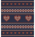 Striped pattern with red hearts on blue background vector image
