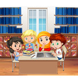 Students reading books in the library vector image