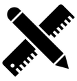 Ruler And Pen Design Maintenance Flat Icon vector image