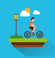 man riding bicycle with meadow lapm light cloud vector image