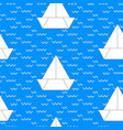 paper boat on blue background vector image