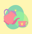 princess tea cup pot vector image