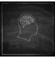 vintage of human head with brain on blackboard vector image