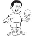 Cartoon African boy eating an ice cream cone vector image