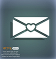 love letter icon On the blue-green abstract vector image