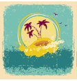 Vintage tropical islandAbstract image with grunge vector image vector image