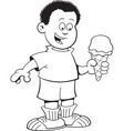 Cartoon African boy eating an ice cream cone vector image