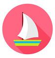 Flat Sea Ship Circle Icon with Long Shadow vector image