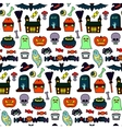 Halloween Patches Seamless Pattern vector image
