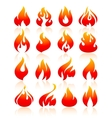 Fire flames red set icons vector image