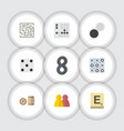 Flat icon games set of people mahjong lottery vector image