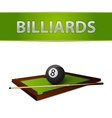 Billiards ball with stick on green table emblem vector image vector image