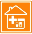 medical icon with house cross and pills vector image vector image