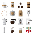 coffee and tea flat icons vector image
