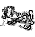 beautiful mermaid with swirls vector image