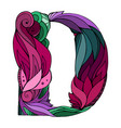 coloring freehand drawing capital letter d vector image