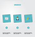 flat icons blueprint broker trinket and other vector image