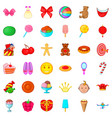 fun holiday icons set cartoon style vector image