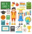 School symbols and kids set vector image
