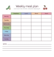 Weekly meal plan mealtime diary vector image