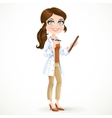 Woman doctor in a white medical coat holding a pen vector