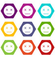 dead emoticon set color hexahedron vector image