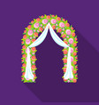 floral wedding arch icon in flat style isolated on vector image