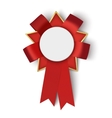 Realistic red fabric award ribbon with blank space vector image