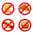 Stop fast food Diet sign Ban unhealthy food It is vector image