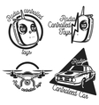 Vintage radio controlled toys emblems vector image