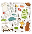 set of stylized golf icons vector image